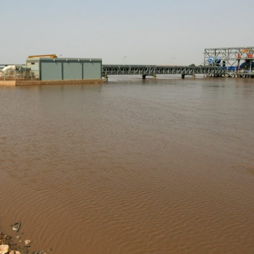 New water intake pump structure, pipe bridge and booster station from major river in northern Africa.