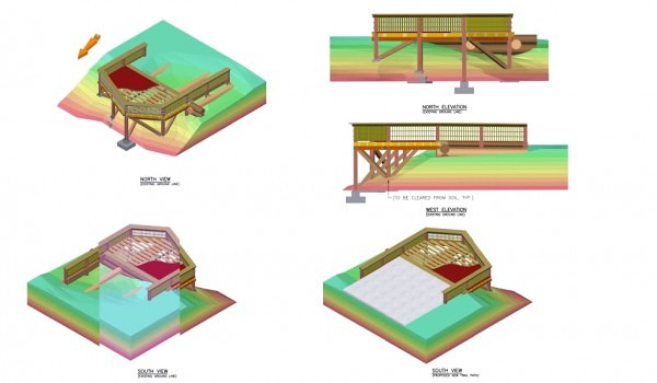 3D drawing of Alexander Falls Viewing deck near Whistler BC 2008