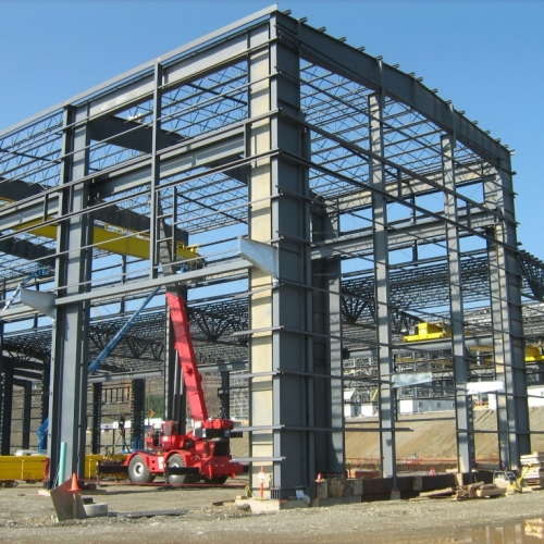 Gold mine refinery process plant heavy steel frame under construction northern British Columbia Canada, 2012-13